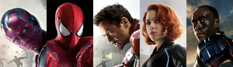Da esquerda para a direita: Visão (Vision), Homem-Aranha (Spider man), Homem de Ferro (Iron Man), Viúva Negra (Black Widow) e Máquina de Combate (War Machine) - cadê o Pantera Negra? Heh. Assista ao filme.