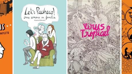 """HQs """"Persépolis"""" (Marjane Satrapi), """"Let's Pacheco"""" (Pacheco & Pacheco), """"Vírus Tropical (Power Paola) e """"Fund Home"""" (Alison Bechdel). Clique para ver as capas maiores."""